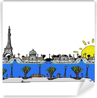 The artist city of Paris comic strip drawing illustration Self-Adhesive Wall Mural