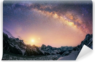 The dome of the Milky Way over the Himalayan ridge Self-Adhesive Wall Mural