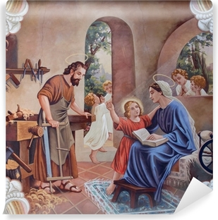 The fresco of Holy Family from village church Self-Adhesive Wall Mural