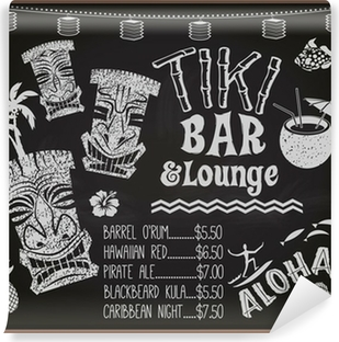 Tiki Bar and Lounge Chalkboard Cocktail Menu Self-Adhesive Wall Mural
