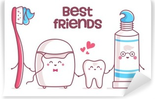 Tooth, toothpaste, dental floss, toothbrush Self-Adhesive Wall Mural