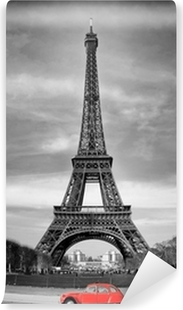 Tour Eiffel et voiture rouge- Paris Self-Adhesive Wall Mural