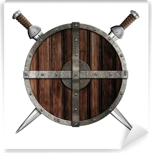 Two swords behind wooden round shield isolated Self-Adhesive Wall Mural