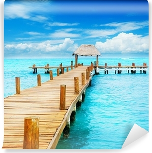 Vacation in Tropic Paradise. Jetty on Isla Mujeres, Mexico Self-Adhesive Wall Mural