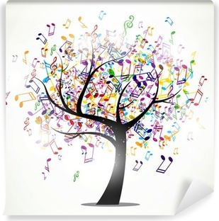 Vector Illustration of an Abstract Background with Music notes Self-Adhesive Wall Mural