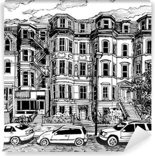 Victorian townhouses front view Self-Adhesive Wall Mural