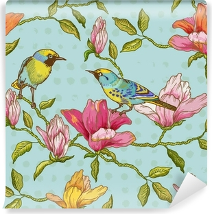 Vintage Seamless Background - Flowers and Birds Self-Adhesive Wall Mural