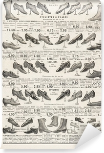 vintage victorian shoes collection. antique shop advertising Self-Adhesive Wall Mural