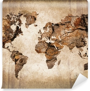 Vintage wood world map Self-Adhesive Wall Mural