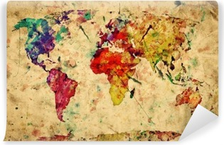 Vintage world map. Colorful paint, watercolor on grunge paper Self-Adhesive Wall Mural