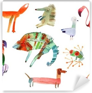 watercolor animals set Self-Adhesive Wall Mural