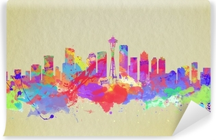 Watercolor art print of the skyline of Seattle United States Self-Adhesive Wall Mural
