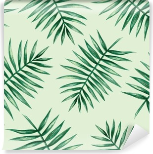 Watercolor tropical palm leaves seamless pattern. Vector illustration. Self-Adhesive Wall Mural