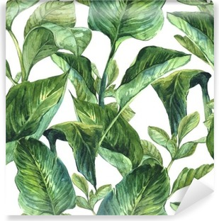 Watercolor with tropical leaves Self-Adhesive Wall Mural