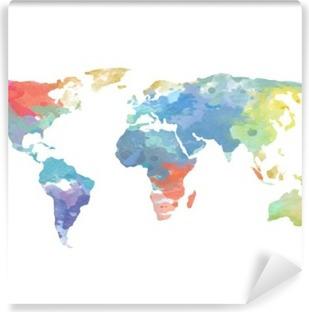 Watercolor World Map Poster Self-Adhesive Wall Mural