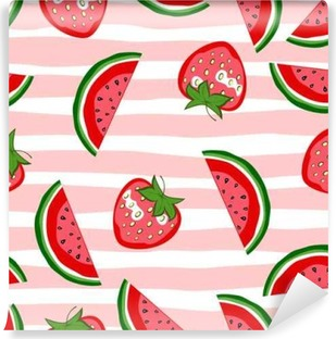 Watermelon and strawberry seamless pattern. Summer texture. Cartoon vector fruit background. Self-Adhesive Wall Mural
