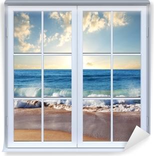 White closed window - Sea. Sunset. Self-Adhesive Wall Mural