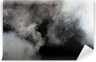 White smoke on black background. Isolated. Self-Adhesive Wall Mural