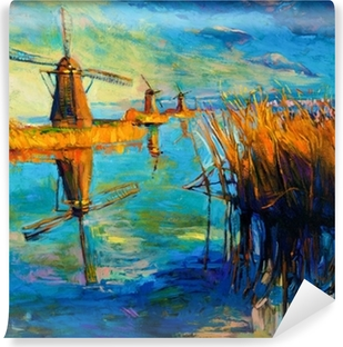 Windmills Self-Adhesive Wall Mural