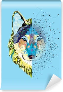 Wolf head in geometric pattern with star line vector Self-Adhesive Wall Mural