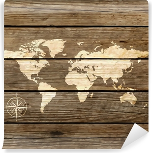 world map on a wooden board vector Self-Adhesive Wall Mural