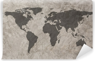 World map on Grunge Concrete Wall texture background Self-Adhesive Wall Mural