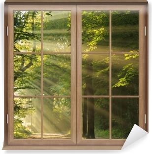 Brown lukkede vinduet - solens stråler i skoven Selvklæbende fototapet