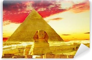 Great Pyramid of Pharaoh Khufu, beliggende i Giza og Sfinxen. Selvklæbende fototapet