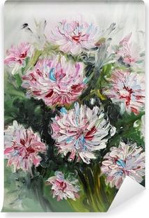Olie maleri buket af pæon blomster Selvklæbende fototapet