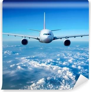 Passagerflyvemaskine i himlen Selvklæbende fototapet