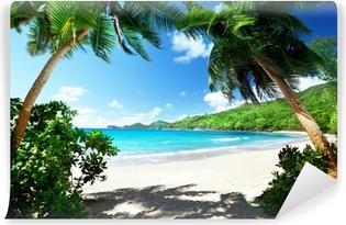 Strand, Mahe Island, Seychellerne Selvklæbende fototapet