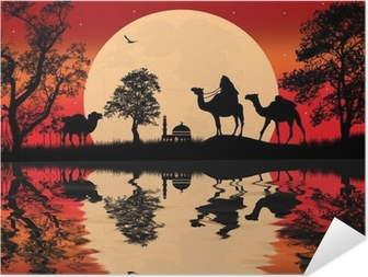 Bedouin kamel campingvogn Selvklæbende plakat