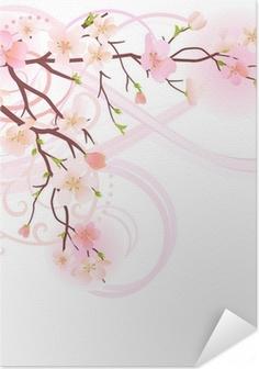 Blomstrende træ design element Selvklæbende plakat