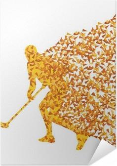 Floorball player vektor silhuet lavet af trekant fragmenter ve Selvklæbende plakat