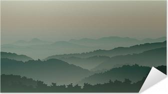 Grønne bjerge i tåge Selvklæbende plakat