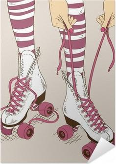 Illustration med kvindelige ben i retro rulleskøjter Selvklæbende plakat