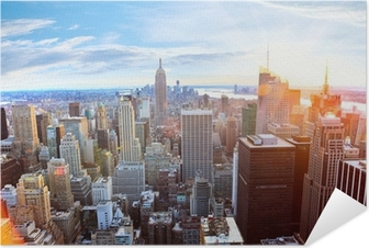 Luftfoto af Manhattan skyline ved solnedgang, New York City Selvklæbende plakat