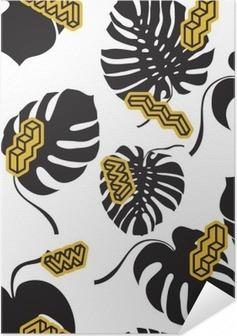Problemfri mønster lavet af Monstera blade Selvklæbende plakat