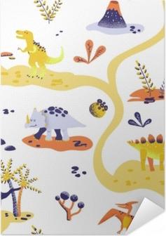 Sømløse søde tegneserie dinosaurer mønster. vektor baby dino baggrund tekstur. baggrund for tekstil, stof, tapet print Selvklæbende plakat