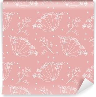 Selvklebende fototapet Dill eller fennikel blomster og blader mønster.