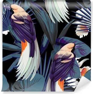 Selvklebende fototapet Fugler, orkideer og nattjungel sømløs bakgrunn