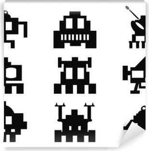 Selvklebende fototapet Space Invaders ikoner sett - pixel monstre
