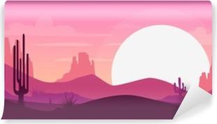 Selvklebende fototapet Tegneserie ørken landskap
