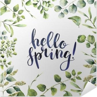 Selvklebende plakat Akvarell hei våren. håndmalt floral kort med eucalyptus, fern og vårgrønne grener isolert på hvit bakgrunn. skriv ut for design eller bakgrunn.