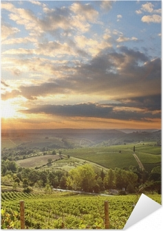 Selvklebende plakat Chianti vingård landskap i Toscana, Italia