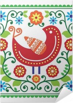 Selvklebende plakat Folkekunst vektor mønster med fugl og blomster