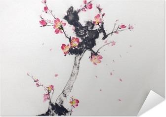 Selvklebende plakat Gren av kirsebærblomstrer