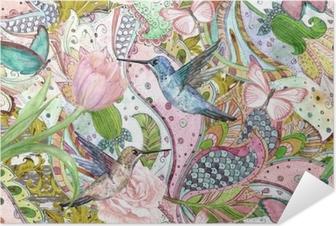 Selvklebende plakat Mote sømløs tekstur med etnisk floral ornament og kolibrier. akvarell maleri