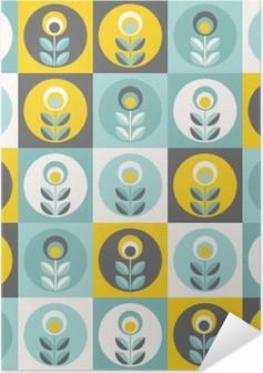 Selvklebende plakat Retro blomstermønster, geometriske sømløse blomster