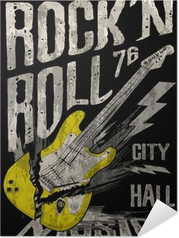 Selvklebende plakat Rock'n roll plakat gitar grafisk design tee art